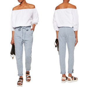 Marc By Marc Jacobs Blue Striped Chambray Trousers